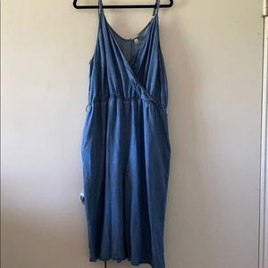 Chambray Faux Wrap Culotte Jumpsuit
